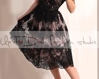 Plus size/Lace black / short wedding dress/plus size / reception/ 3/4 sleeve  bridal gown /make to order/