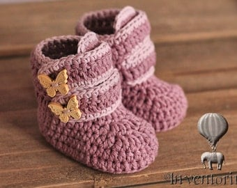 """Crochet Pattern, Baby Booties Crochet Boots """"Butterfly Boots"""" Girls crochet pattern for booties PATTERN ONLY"""