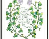 Watercolor Irish Print, Irish Blessing, Nature Wall Art, Shamrock Print, Giclee Print, Green Irish Clover, St. Patrick's Decor, Kid's Room