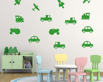 Kids Vehicle Wall Stickers Pack, Vehicle Wall Decals, Truck Wall Art, Car Wall Transfers - MP017