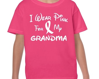 I Wear Pink For My GRANDMA Breast Cancer Awareness Youth Fit Boys and Girls Kids T Shirt
