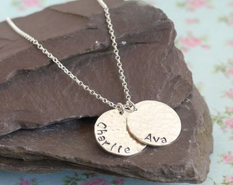 Hammered Sterling Silver Coin Necklace, Double Pendant, Mothers Day Gift Idea for Mother, Personalised Coin, Childrens Names