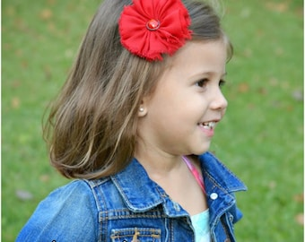 Red Frayed Chiffon Flower Hair Clip, Flower Barrette, Girls Hair Clip, Headband Clip, Red Hair Bow, Toddler Hair Accessory, Flower Girl Bow