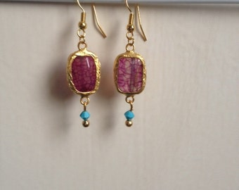 Gold Edged Pink/Purple Jade Stone Dangle Earrings