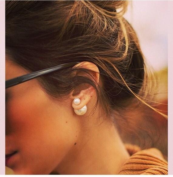 boucle oreille perle devant et derriere