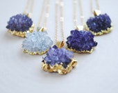 Gold Amethyst Necklace - Amethyst Geode Necklace - Amethyst Druzy Jewelry