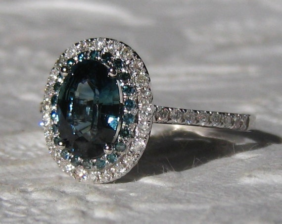 1 5 Carat Untreated Teal Blue Sapphire and Blue Diamonds in