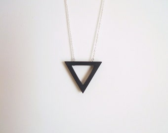 Long necklace, triangle necklace, black pendant necklace, Geometric necklace