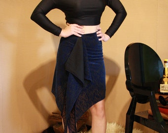 Gathered Asymmetric Skirt/ Black and Blue Wrap Draped Skirt/ High Waist Modern Party Skirt