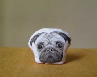 pug brooch pet pin hand painted jewelry gift idea for dog lovers dogs owner black and white pet portrait