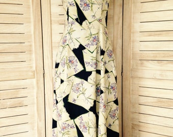 Floral Cream Maxi Dress with Spaghetti Straps - Small - 90's