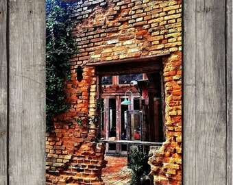 The Gristmill Window - Old Brick Building - River Restaurant - Gruene, TX - Fine Art Photography Print