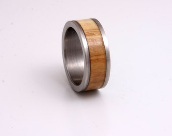 titanium and wood ring with olivewood wedding band