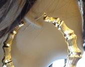 VINTAGE BAMBOO HOOP earrings Gold Tone Hoop Earrings Doorknockers Hoops 3.5 inch Hoops
