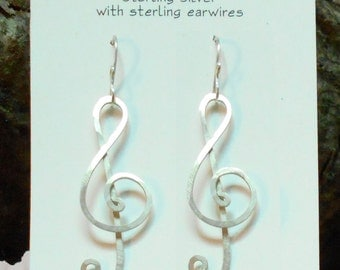 Hammered Sterling Silver Treble Clef Earrings - from small to large - & Sterling Silver Ear Wires, Organic Modern Earrings, Musical Notes