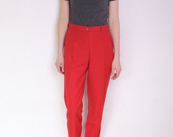 90's red creased pants, preppy red pants, sailor, nautical red trousers, suit pants, high waisted pants