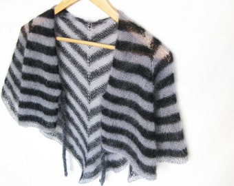 Mohair capelet in grey and black, lightweight poncho, knit shrug, shoulder cover up, elegant cape, silk mohair knitwear, shawls and wraps
