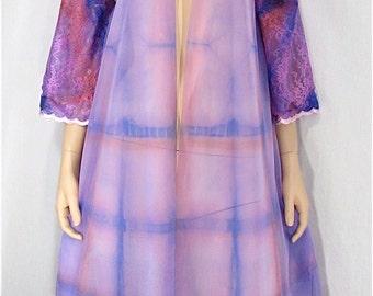 Vintage Peignoir Robe Medium Small Tie Dye Vintage Lingerie Hand Dyed Double Chiffon Pin Up Upcycled Shibori Boho Bridal Lingerie Honeymoon
