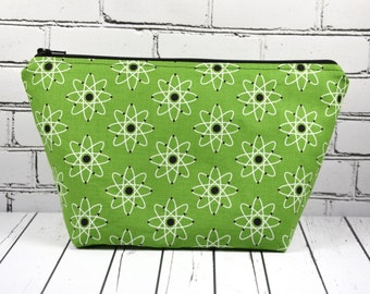Atomic Green Make Up Bag, Science Gift, Atom Retro Print Makeup Bag, Cosmetic Bag, Toiletry Bag, Zip Pouch, School Supplies
