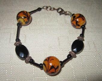 Amber and Black, Amber Bracelet, Brown Bracelet. Black Bracelet, OOAK Bracelet