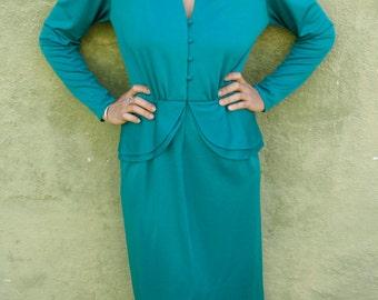 Vintage Peplum Dress * 1940's Style * Vintage * Teal * Secretary * Stylish * Retro * Size 10