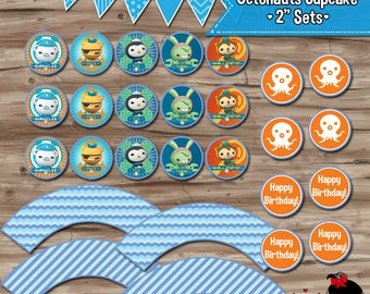 "2"" OCTONAUTS Cupcake Toppers & Wrappers, Printable DIY Supplies, Favor Gift Tags Stickers, Instant Download, Printable DiY Digital JPG Files"