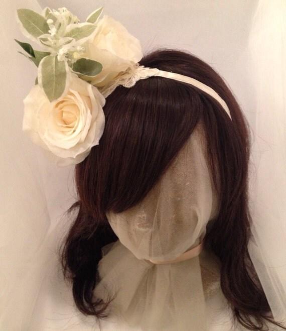 Flower Crown, Winter White Rose Headpiece, Silk Rose Bridal Crown, Floral Headpiece - TWIN KISSES Headband