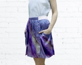 Summer SALE! Silk Skirt , Purple Skirt , Mini Skirt , Evening Skirt , High Waist Skirt , A Line Skirt , Flounce Skirt
