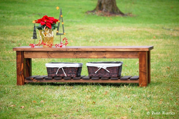 Rustic Farmhouse Entryway Bench with Storage Shelf by PennRustics