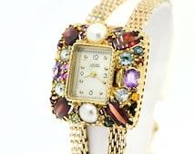Lucien Piccard Multi-Gemstone Wrist Watch 14K Gold