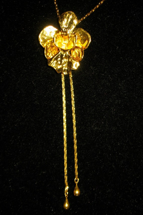 24k Gold Plated Real Orchid Flower Risis Of Singapore Lariat