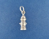 FIRE HYDRANT Charm .925 Sterling Silver, Firefighter, Fireman, Miniature SMALL