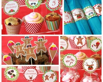Christmas Birthday Party - Christmas Downloads - Christmas Decorations - Christmas Party Printables - Christmas in July (Instant Download)