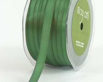 "3/8"" Double Faced Green Satin Ribbon from May Arts - 10 Yards"