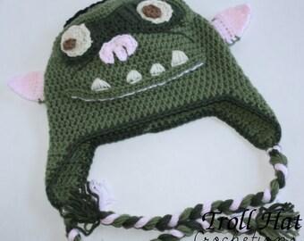 Troll Hat, Troll Beanie, Ugly Troll Hat, Crochet Hat, Troll Beanie, Halloween Hat, Halloween Costume, Scary Troll Hat (MADE TO ORDER)