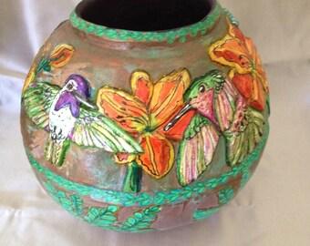 Gourd Art:  Hummingbirds and Daylilies