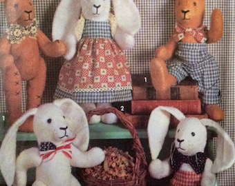 Simplicity 7858 UNCUT Cotton Batting Bunny and Bear with Clothes