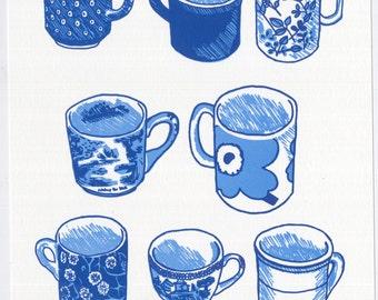 Eight Cups letterpress print