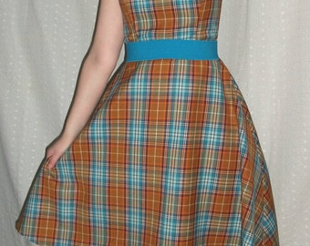 Vintage plaid party dress, orange and turquoise, strapless, tea length, tulle, retro prom gown, fall dance