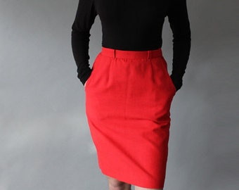 Red Linen High-Waisted Pencil Skirt, Vintage