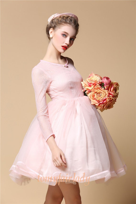 Baby pink lace organza ballet angle bridesmaid dress pastel for Baby pink wedding dress
