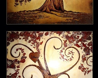 "WHIMSICAL FAMILY TREE 21"" x 28"", Custom Handmade  Wood Burned on Birch Wood and Enhanced with Oil and Latex Paint by Vicki Hamende"