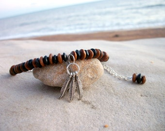 Feather dangle dreamcatcher wooden anklet ⁓ summer beach accessory