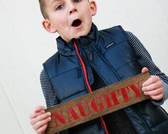 Naughty christmas card prop, christmas photo prop, christmas sign, naughty and nice