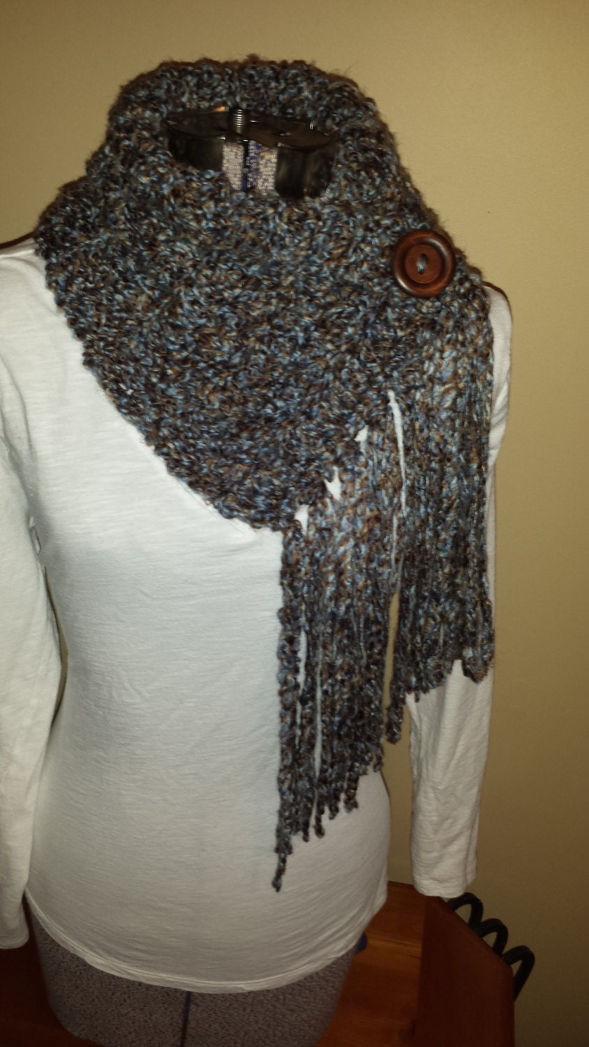 fringe button scarf cowl infinity scarf by hookedbykendra