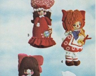 Felt doll ornaments pattern Vintage pattern Christmas tree ornaments pattern Instant download pattern