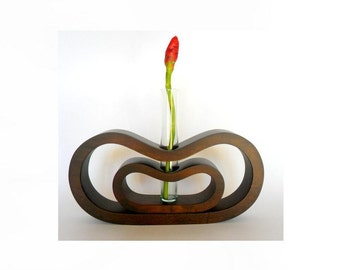 Handmade Solid Mango Wood Hand Carved Vase With Flower Holder Glass Tube Modern Art Home Decor Handcrafted / Gift
