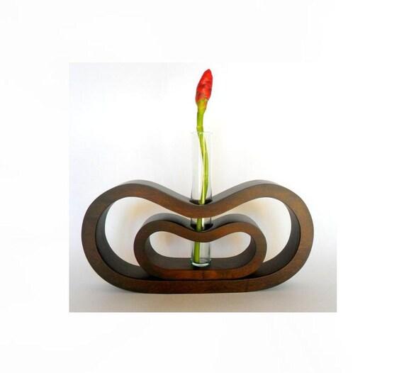 handmade solid mango wood hand carved vase with flower holder glass tube modern art home decor carved solid mango wood