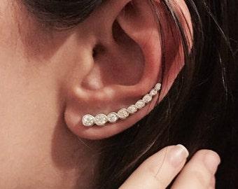 Swarovski Long Strip Earrings - Ear Climber Earrings - Long Ear Climber - Silver Ear Climber - Ear Crawler - Bar Earrings - Gold Earrings