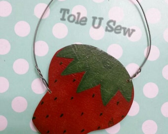 Strawberry ornament, strawberry hanger, handpainted strawberry